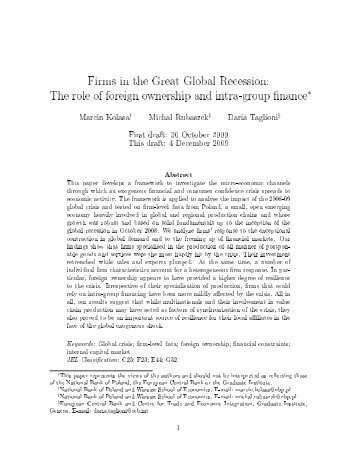 Firms in the Great Global Recession - FREIT Forum for Research on ...