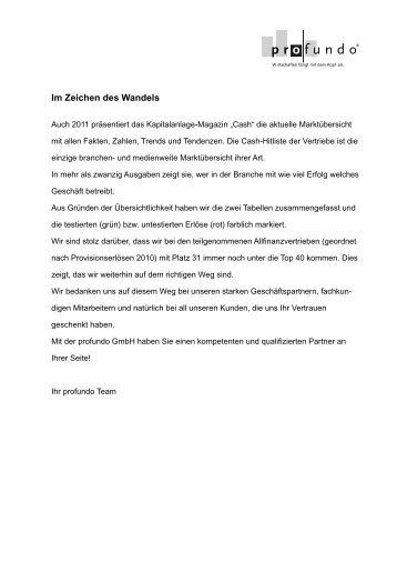 Im Zeichen des Wandels Allfinanzvertriebe 2011 - Profundo GmbH