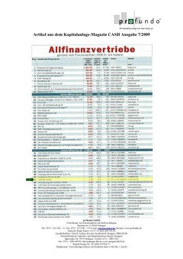 Top 50 der deutschen Allfinanzvertriebe 2009 - Profundo GmbH