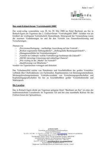 Vertriebsgipfel 2008 - Profundo GmbH