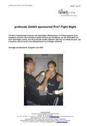 profundo GmbH sponsored Pro7 Fight Night