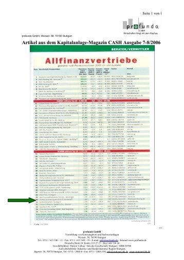Artikel aus dem Kapitalanlage-Magazin CASH ... - Profundo GmbH