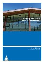 Disability and SENDA booklet - Royal Holloway, University of London