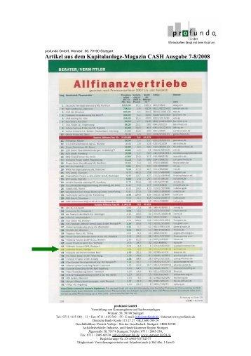 Top 50 der deutschen Allfinanzvertriebe 2008 - Profundo GmbH