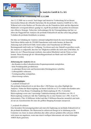 Offizielle Einführung der prof undo Analytics ... - Profundo GmbH