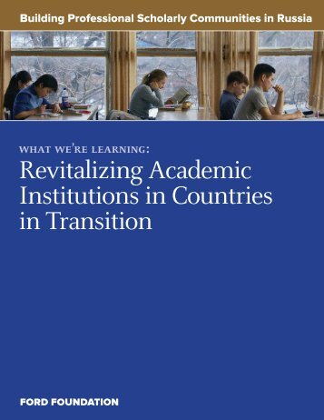 Building Professional Scholarly Communities in ... - Ford Foundation