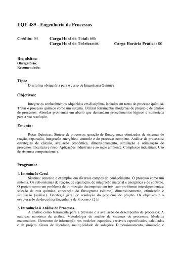 EQE 489 - Engenharia de Processos - Escola de Química / UFRJ