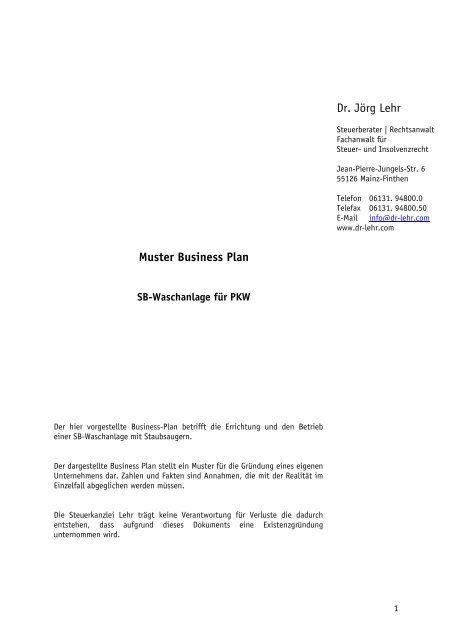 Muster Business Plan Pdf 96kb Dr Jorg Lehr