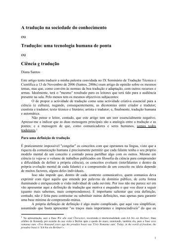 A tradução na sociedade do conhecimento ou ... - Linguateca