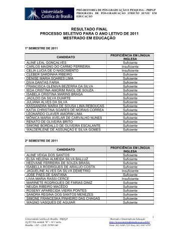 resultado final processo seletivo para o ano letivo de 2011 mestrado ...