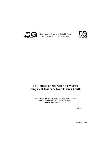The Impact of Migration on Wages: Empirical Evidence from ... - Inra