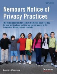 Notice of Privacy Practices (PDF) - Nemours
