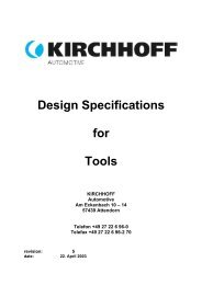 Design Specifications for Tools - KIRCHHOFF Automotive