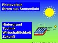 Photovoltaik Strom aus Sonnenlicht Hintergrund Technik ...