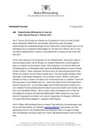 Safer Internet Day - PM 25.01.2013 - Der Landesbeauftragte für den ...