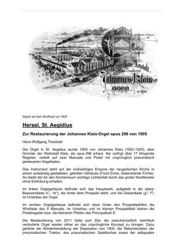 Hersel, St. Aegidius - Orgelbau Klais