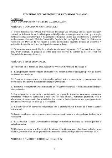 ESTATUTOS DEL ORFEON UNIVERSITARIO DE MÁLAGA - Orfeón ...