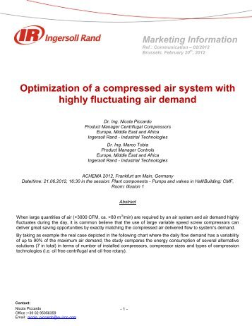 Optimization of a compressed air system with highly ... - Ingersoll Rand