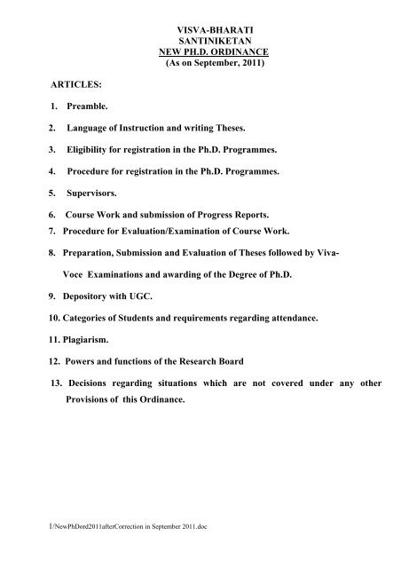 visva bharati phd coursework results