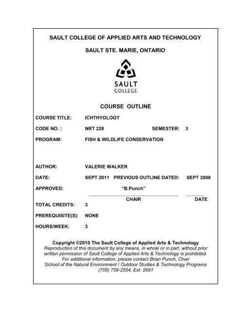 Nrt228 Ichthyology F11 Pdf Sault College