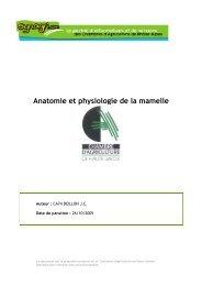 Anatomie et physiologie de la mamelle - Chambres d'Agriculture de ...