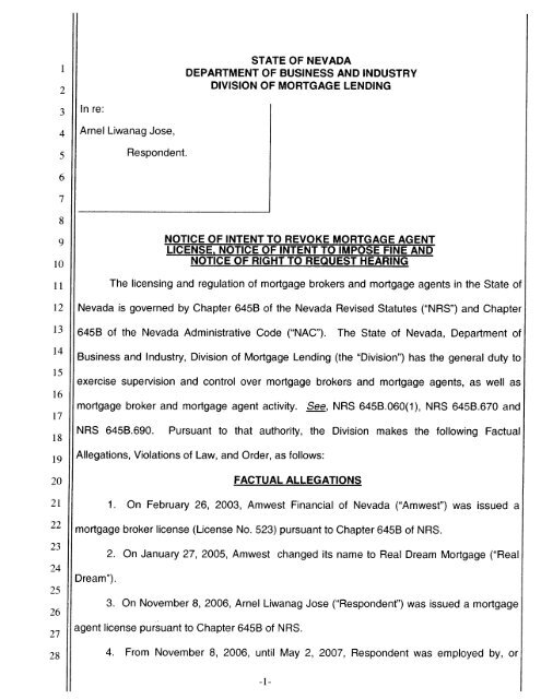 Notice of Intent to Revoke Mortgage Agent License and Notice