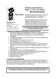 Bedienungsanleitung BMS 11/141/144 Reihe,