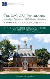2010 CAO Institute - The Council of Independent Colleges