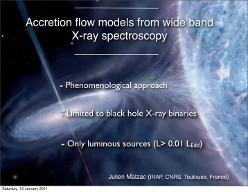 Accretion flow models from wide band X-ray spectroscopy - iucaa