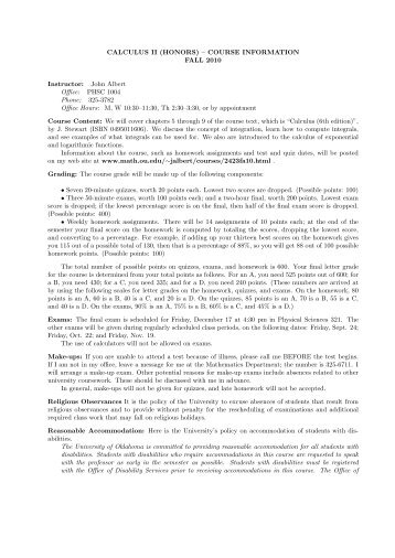 Syllabus for this course - Department of Mathematics - University of ...