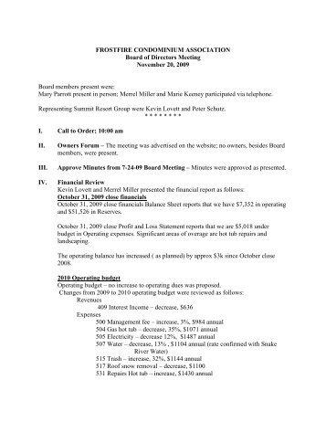 FF BOD Meeting Minutes 11-20-09 - Summit Resort Group HOA ...