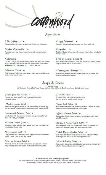 Appetizers Soups & Salads - Cottonwood Grille