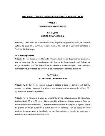 REGLAMENTO PARA EL USO DE LAS INSTALACIONES DEL ...