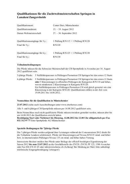Qualifikation - Zuchtverband CH Sportpferde