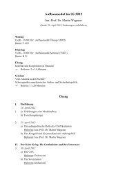 Sitzungsplan - Martin Wagener