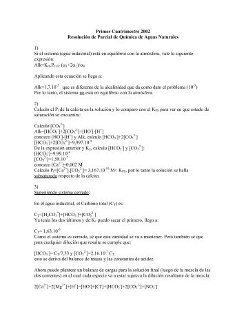 Primer Cuatrimestre 2002 Resolución de Parcial de Química de ...