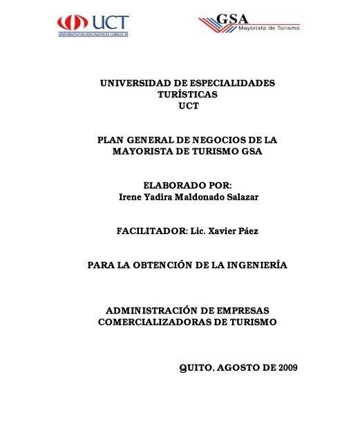 Plan General De Negocios De La Mayorista De Turismo