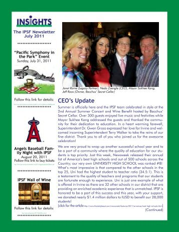 July 2011 - Irvine Public Schools Foundation