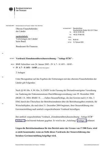 """Vordruck Einnahmenüberschussrechnung - """"Anlage EÜR"""" - CDH"""