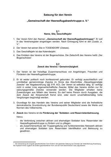 """Satzung für den Verein """"Gemeinschaft der Heeresflugabwehrtruppe ..."""