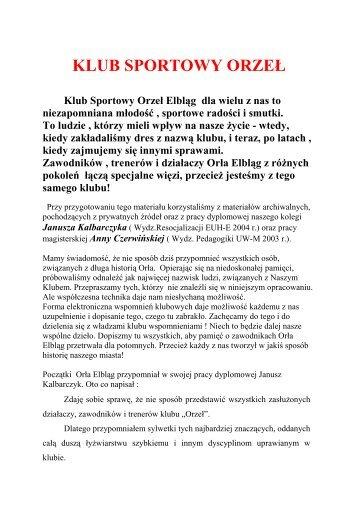 Historia Klubu Sportowego Orzeł do pobrania w pliku.pdf