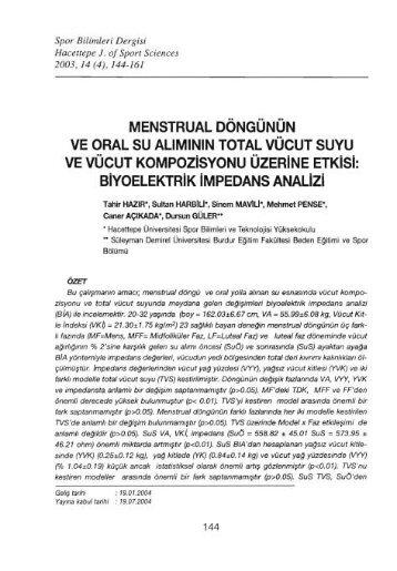 menstrualoöngünün ve oral su - Spor Bilimleri Dergisi - Hacettepe ...