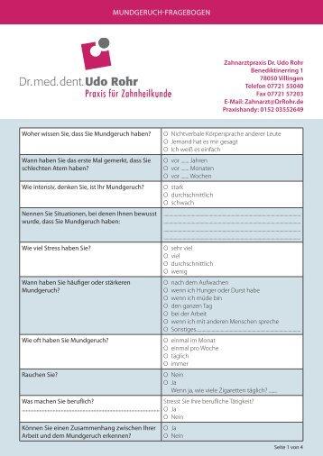 MuNdgeRuch-FRAgebogeN - DrRohr.de