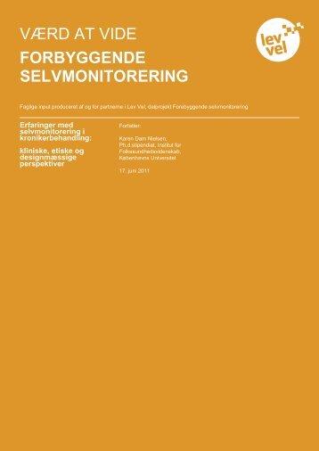 Selvmonitorering i kronikerbehandling - Lev Vel