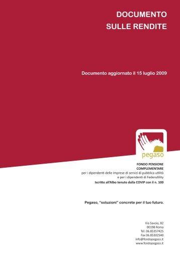 Documento sulle rendite - Fondo Pegaso