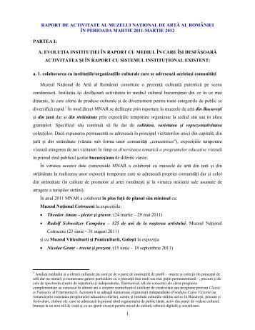 Raport de activitate pt Evaluare Anuala pentru ... - Ministerul Culturii