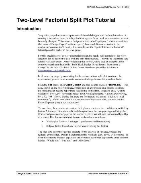Two-Level Factorial Split Plot Tutorial Introduction