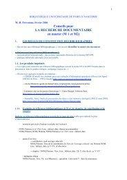 Conseils pour LA RECHERCHE DOCUMENTAIRE en master ... - Free