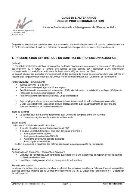 Guide De L Alternance Contrat De Iut Bayonne