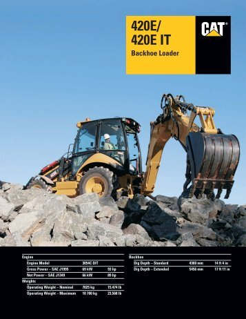 Specalog for 420E/420E IT Backhoe Loader ... - Kelly Tractor